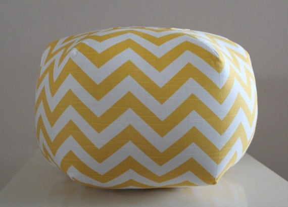 "Ready to Ship - 18"" Ottoman Pouf Floor Pillow Yellow Chevron Zig Zag"