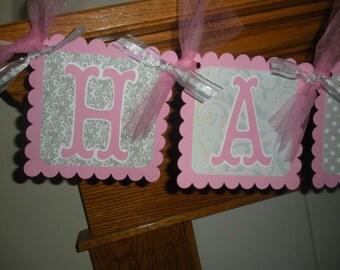 Birthday Banner Pink and Silver Birthday Banner, Banner for all ages, Matching Tissue Pom Poms Available