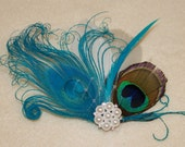 Turquoise Blue Bleached Natural Peacock and Off white Feather Boutique Hair Clip Bridal Fascinator w Pearl accents Photp Prop