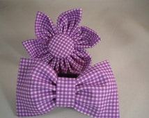 Dog Flower or Bow Tie - Gingham - Purple