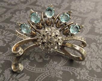 Antique Trifari Sterling Silver Brooch Light Blue Rhinestones Art Deco Pin