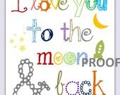 "I love you to the Moon and Back Art Print // Nursery Art Print // Nursery Decor // Nursery Wall Art Toddler // 8x10"" art print"
