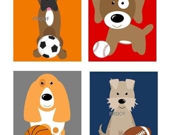 Dogs Nursery Art Prints // Dogs Nursery Decor // Sports Theme Nursery Art // Puppy Dog Art Prints // Puppy Art // Set of Four prints