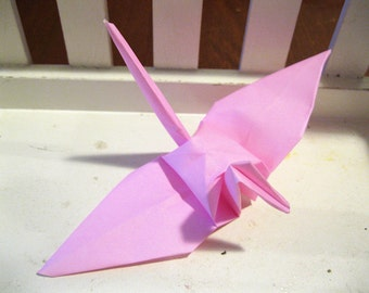 "100 6"" Light Pink Baby origami paper cranes wedding party decoration breast cancer marathon"