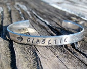 Diabetic Alert Aluminum Cuff Bracelet - Hand Stamped with Wings and Hearts - Thin