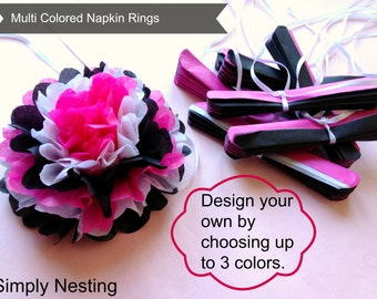 100 Multi Colored Tissue Paper Napkin Rings, Choose your own colors