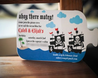 bottle shaped pirate themed party invitations set of 12