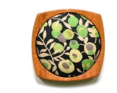 Wooden Brooch / Pendant - Liberty of London and Mahogany - Green Taupe Black Mod Floral