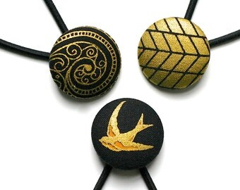 LUX Black and Gold Set of Three Large Covered Button Hair Ties (Ponytail Holders) Snagless Elastics