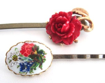 Red Hairpins Bridal Hair Accessory Holiday Fashion Hairpins Wedding Flower Clips