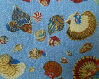 CLEARANCE Moda Sea Shells in Blue (15551)