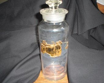 Vintage A C Benzoic Apothecary Bottle Jar Large Ground Stopper 1800s to 1900s