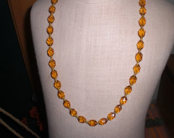 Vintage Topaz Glass Colored 1950s to 1960s Necklace Long No Clasp Faceted Beaded