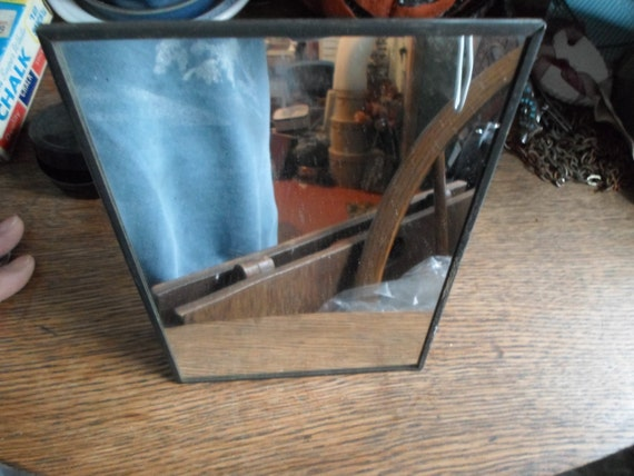Vintage 1940s 50s standing mirror vanity make up mirror framed for Small stand up mirror