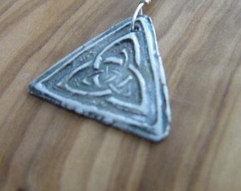 Celtic trefoil knot fine silver pendant necklace