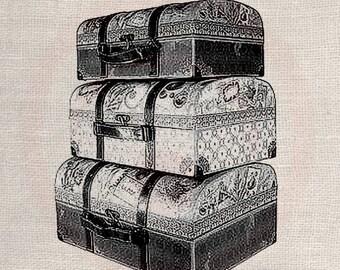 Custom Clip Art Design Transfer Digital File Vintage Download DIY Scrapbook Shabby Chic Pillow Travel Old Suit Case No. 0635