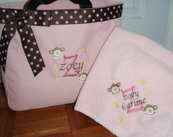 Personalized Baby Monkey & Bananas Tote Diaper Bag and Blanket Set