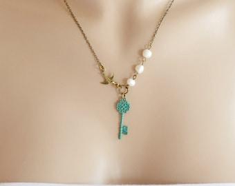 Patina Key Necklace, Bird Necklace, Skeleton Key Bird Necklace, Patina Jewelry, Feather Necklace, Key Charm Necklace, Secrets Key, BFF Gift