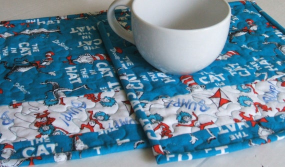 Cat In The Hat Mug Rug-Mini By QuiltedDecorAndMore On Etsy