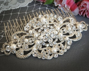 Wedding Hair Comb, Swarovsi Pearl Bridal Hair Comb, Wedding Hair Accessories, Crystal Rhinestone Bridal Hairpiece, Hair Jewelry, VILANA