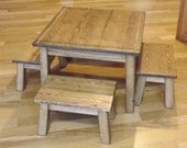 "Childrens table and four stools/ solid wood/ reclaimed wood/ brown stain/ family/ coffee table/ 17"" H"