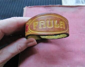 Woman's Vintage Brown Leather Name Bracelet Cuff - PAULA