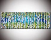 Painting on canvas, Huge Painting, Original Abstract, Abstract Forest,Large Forest Painting, Birch forest, Blue Green Trees, free shipping