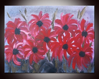 Art Abstract Red Flowers Painting, Original Modern Abstract  Palette Knife Impasto, Original Modern Flowers, Ready to Hang
