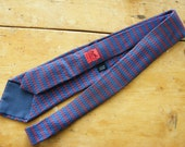 "Hermes Tie, ""H"" initial Necktie Red, Blue on Gray"
