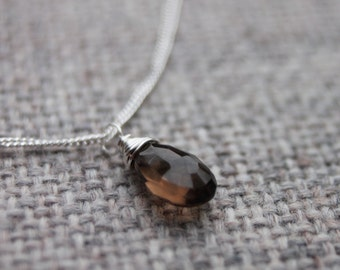 CLEARANCE 50% OFF ~ Sterling Silver & Smoky Quartz Necklace. Gemstone Necklace