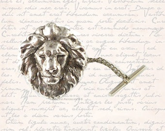Antique SIlver Lions Head Tie Pin Zodiac  Leo Tie Tack Pin with Bar and Chain Vintage Inspired Tie Accent