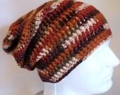 Mens - Women - Slouchy Hat Beanie - Skullcap Crocheted - Brown Rust Cream - Rasta - Gift for Her - Boyfriend - Gamer - Boho Hipster
