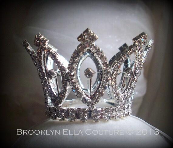 "SALE Newborn Rhinestone  Crown: Queen BE MINI Crown ""Victoria"" Crystal Mini Rhinestone Tiara Newborn Photo Prop...Newborns Toddlers Birthday"