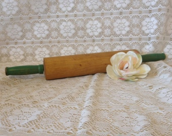 Rolling Pin Green Handle Vintage Rolling Pin Cottage Kitchen