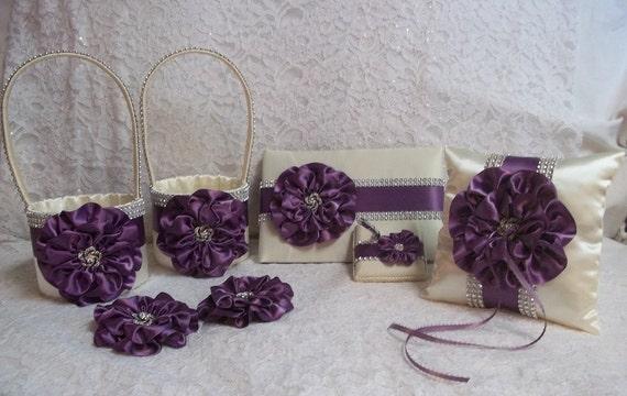 Amethyst & Ivory Matching Wedding Accessories Set 2 Flower
