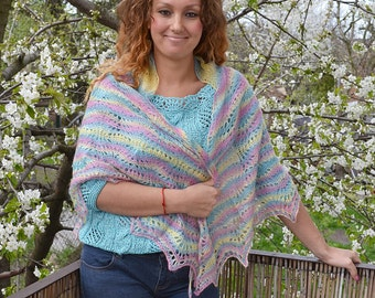 Multicolor knitted shawl,scraf - very delicate