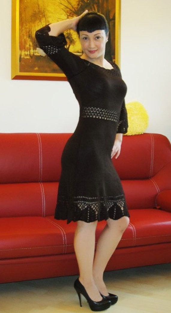 Brown Crocheted/Knitted dress uniqe silk black white made to order