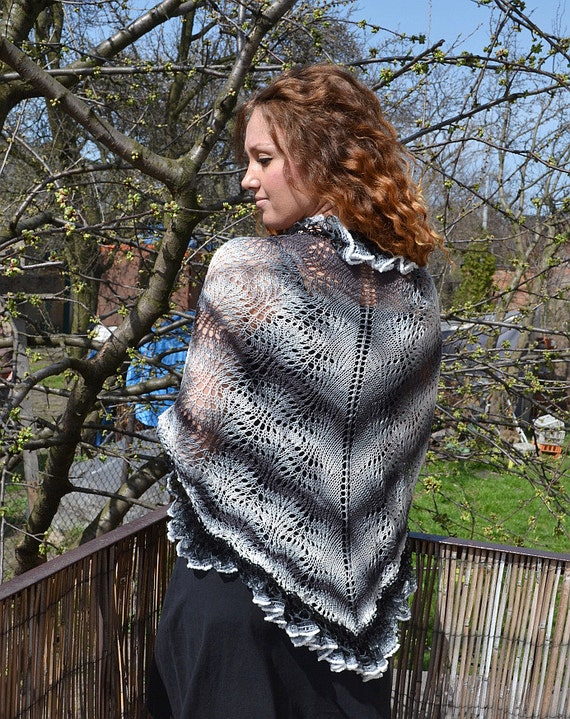 Black, gray and white Hand knitted shawl,scarf