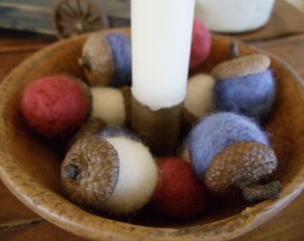 Needle Felted Patriotic Red White and Blue Acorns One Dozen Nature Bowl Fillers