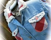 Blue Jean Long Sleeve Denim Jacket with Bottom Skirt Embellishment with Boho, Country, Western, Gypsy, Shabby Chic, and Pinup Influences.
