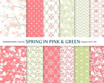Spring Digital paper pack, Pink and Green digital backgrounds - 12 jpg files 12x12 - INSTANT DOWNLOAD Pack 450