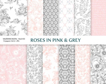 Digital papers  in pink and grey, rose digital backgrounds - 12 jpg files 12x12 - INSTANT DOWNLOAD Pack 453