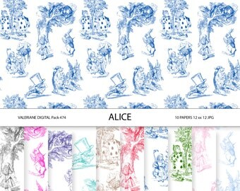 Digital Paper Alice in Wonderland in toile for Scrapbooking, Photography, Web,  Stationary INSTANT DOWNLOAD 10 jpg  files - Pack 474