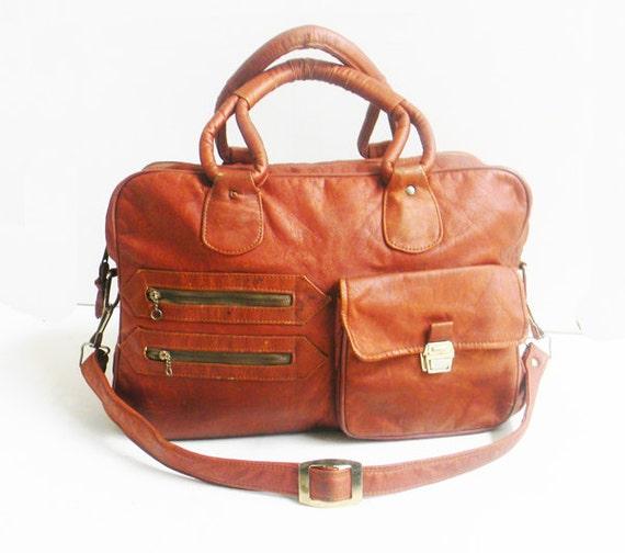 Vintage 1970s Vegan Leather Weekender Cognac Distressed Leather