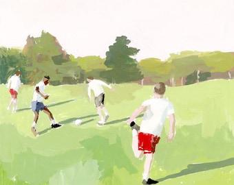 """sport art - """"Soccer Match"""" giclee print"""