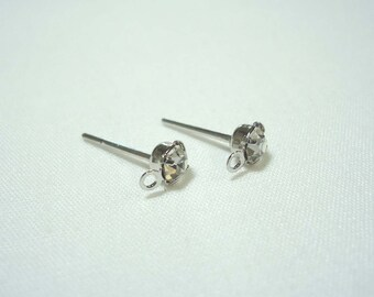 F-112. 6pcs (3 pairs) Rhodium Plated,CZ Ear Post Finding