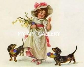 DACHSHUNDS Carry EASTER Baskets for Girll Vintage MAGNET Art Print