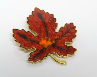 Colorful Red Orange Enamel Maple Leaf Brooch Pin