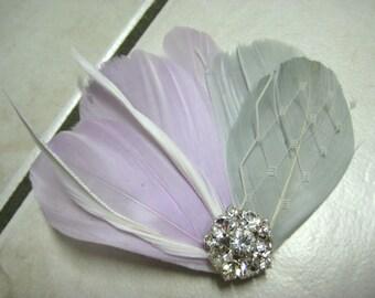 Wedding Bridal Lilac Purple Silver Grey Feather Rhinestone Jewel Ivory Veiling Head Piece Hair Clip Fascinator Accessory
