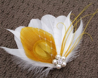 Wedding Bridal White Mustard Yellow Peacock Feather Pearl Rhinestone Jewel Veiling Hair Clip Fascinator Accessory